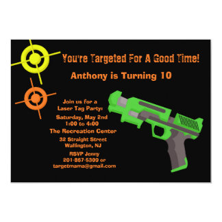 Girls Target Laser Tag Birthday Party Invitation