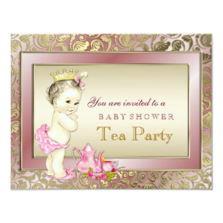Girls Tea Party Baby Shower Card