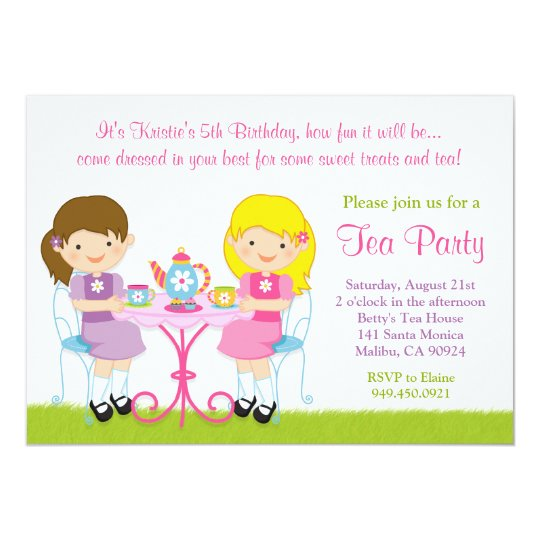 Girls Tea Party Birthday Party Invitation