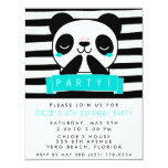 Girl's Teal and Black Cute Panda Birthday Party 4.25x5.5 Paper Invitation Card