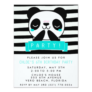 Girl's Teal and Black Cute Panda Birthday Party Card