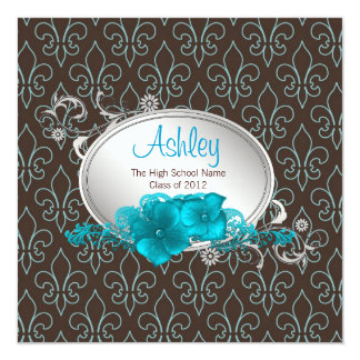 Girls Teal Blue Brown Fleur De Lis Graduation Card