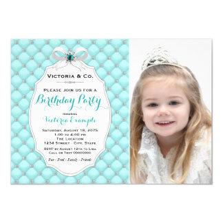 Girls Teal Blue Diamond Birthday Party Card