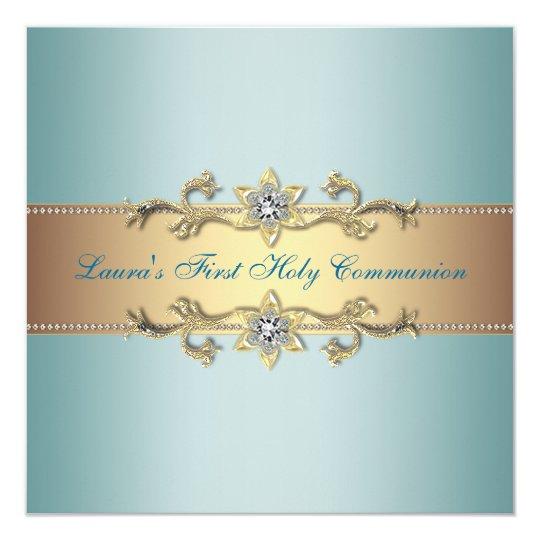 Girls Teal Blue First Communion Card