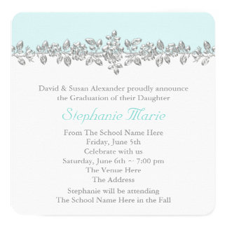 Girls Teal Blue Graduation Announcement