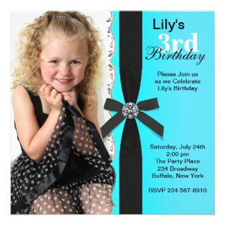 Girls Teal Blue Photo Birthday Party Personalized Announcements