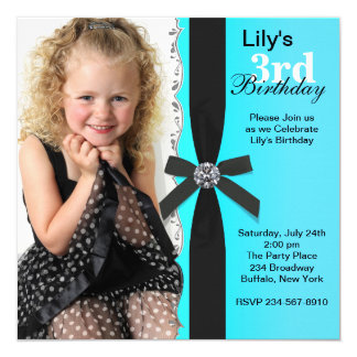 Girls Teal Blue Photo Birthday Party 5.25x5.25 Square Paper Invitation Card