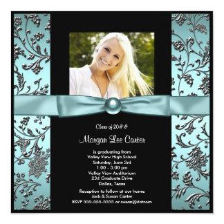 Girls Teal Blue Photo Graduation Card