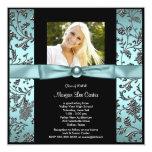 Girls Teal Blue Photo Graduation Custom Announcements