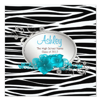 Girls Teal Blue Zebra Graduation Announcements