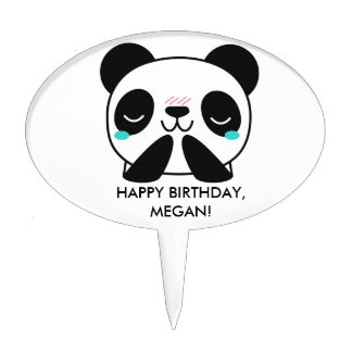 Girl's Teal Happy Panda Happy Birthday Cake Cake Topper