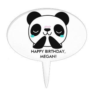 Girl's Teal Happy Panda Happy Birthday Cake Cake Topper