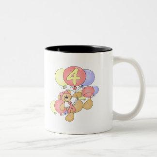 Girls Teddy Bear 4th Birthday Gifts Mug
