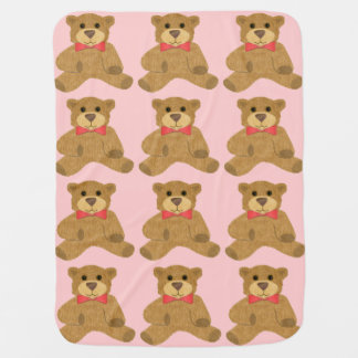 Girl's Teddy Bear and Red Bowtie Pattern on Pink Baby Blanket
