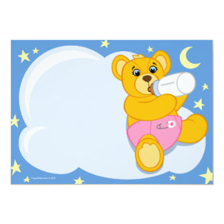 "Girls Teddy Bear Baby Shower Invitations 5"" X 7"" Invitation Card"