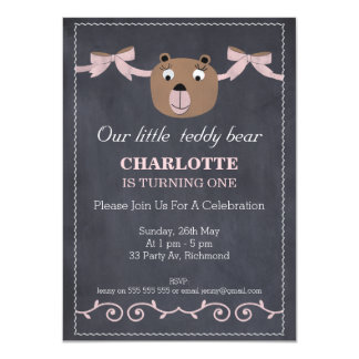 Girl's Teddy Bear Chalkboard Birthday Invitation