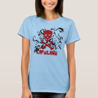 Girls tee red skulls