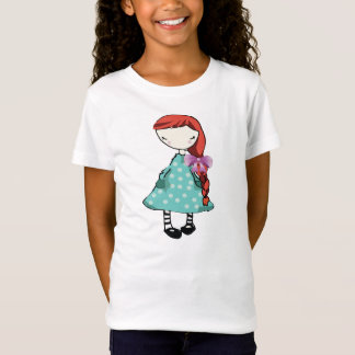 Girl's Tee Shirt, Hand Drawn Doll With Red Hair