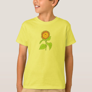 Girls Tee with Smiling Sunflower Design