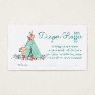 Girls Teepee Diaper Raffle Tickets