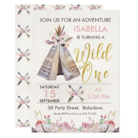 Girl's Teepee Wild One 1st Birthday Invitation