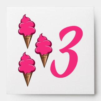 Girls Third Birthday Party Pink Ice Cream Envelope
