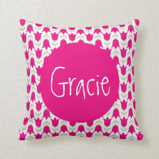 Girls Throw Pillow | Personalized Pink Tulip
