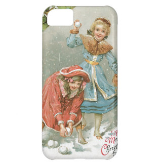 Girls Throwing Snowballs, Merry Christmas Case For iPhone 5C