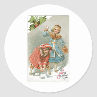 Girls Throwing Snowballs, Merry Christmas Classic Round Sticker