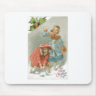 Girls Throwing Snowballs, Merry Christmas Mouse Pad