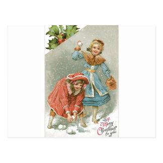Girls Throwing Snowballs, Merry Christmas Postcard