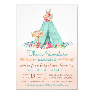 Girls Tipi Baby Shower Invitations