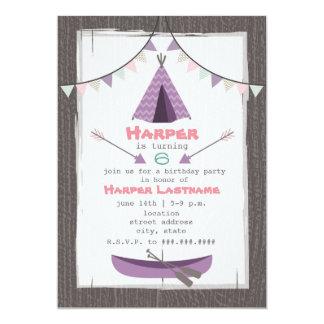Girls Tipi Birthday Party Invitation Pink + Purple