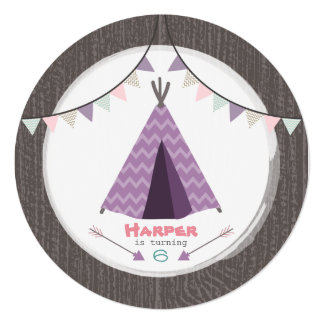Girls Tipi Birthday Party Round Invite Pink Purple