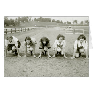 Girls Track 1920s Greeting Cards