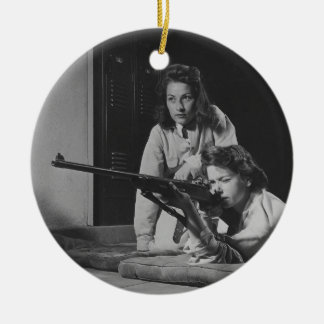 Girls Training in Victory Corps Rifle Marksmanship Double-Sided Ceramic Round Christmas Ornament