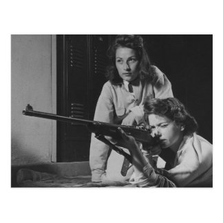 Girls Training in Victory Corps Rifle Marksmanship Postcard
