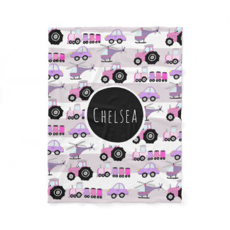 Girl's Transport Car Pattern Name Children's Fleece Blanket