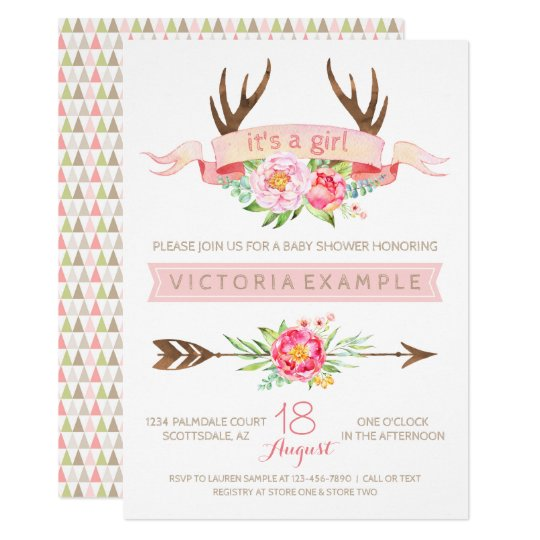 Girls Tribal Antler Floral Baby Shower Invitations Zazzlecom