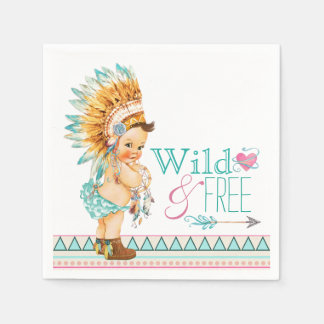 Girls Tribal Baby Shower Napkin