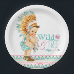"""Girls Tribal Baby Shower Paper Plate<br><div class=""""desc"""">Girls tribal baby shower paper plates with cute baby girl wearing pretty pastel Native American Indian clothing and dream catcher on a pastel Aztec Indian design background with stylish Wild and Free text with heart and arrow. You can personalize these cute tribal baby paper plates for your event by simply...</div>"""