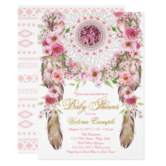 Girls Tribal Dreamcatcher Baby Shower Invitation