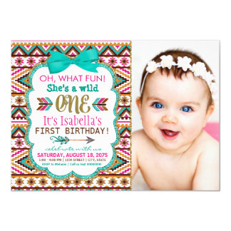 Girls Tribal First 1st Birthday Party Card