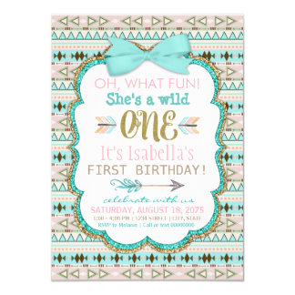 Girls Tribal First Birthday Party Invitation