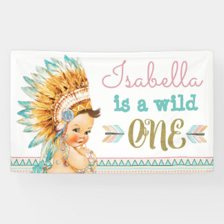 Girls Tribal Wild One Birthday Banner 1st Birthday