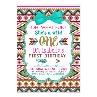 Girls Tribal Wild One Birthday Party Invitations