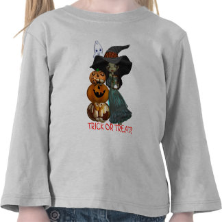 Girls Trick Or Treat Sweat Shirt With Witch & Ghos