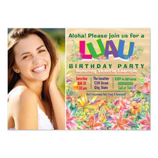 Girls Tropical Luau Photo Birthday Party Card