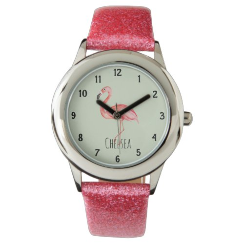 Girls Tropical Watercolor Flamingo and Name Kids Watch