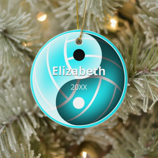 girls turquoise yin yang sports volleyball ceramic ornament